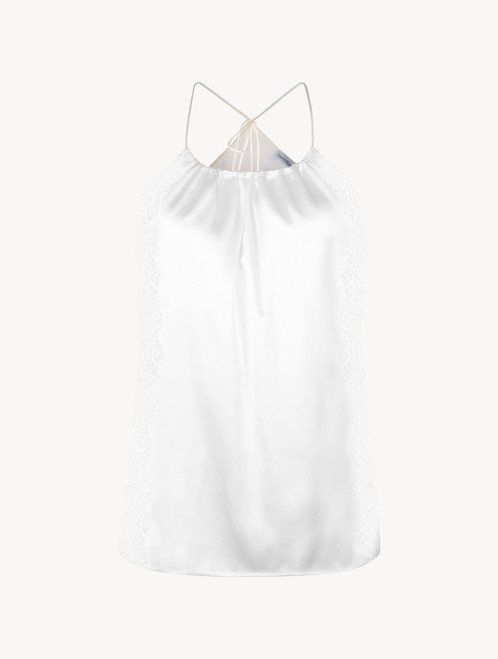 Off-white silk halterneck camisole with Leavers lace trim