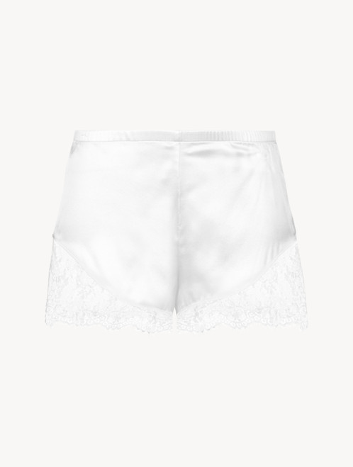 Off-white silk pyjama shorts with Leavers lace trim