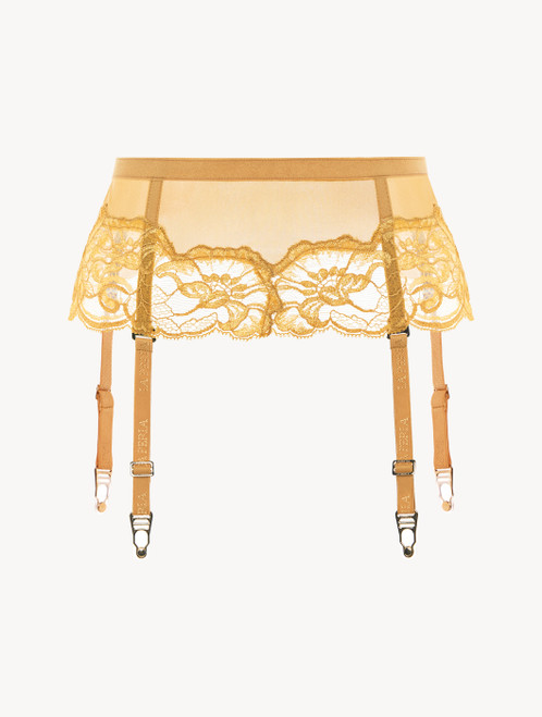 Suspender belt in yellow tulle and Leavers lace
