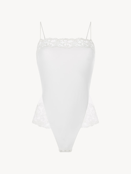 White bodysuit with embroidered tulle