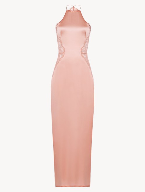 Pink silk halterneck nightdress with Leavers lace trim