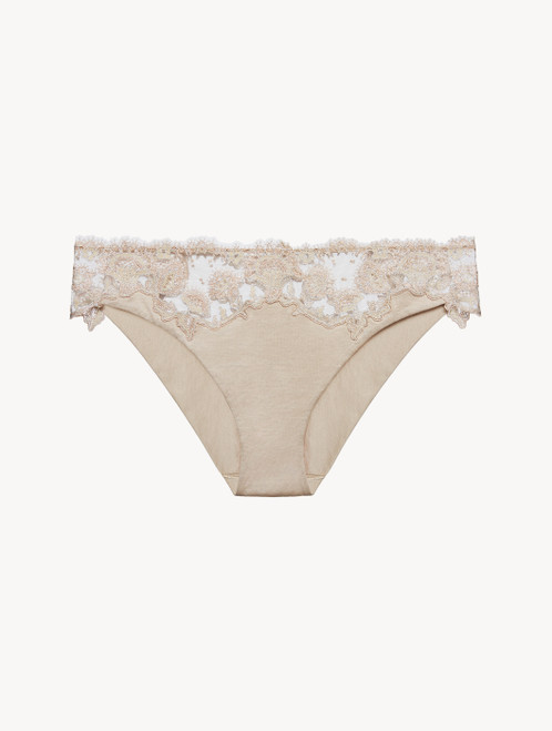 Soft beige embroidered tulle medium brief