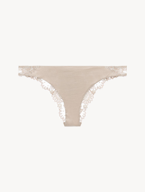 Soft-beige embroidered tulle brazilian briefs