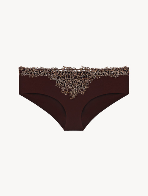 Brown hipster briefs with metallic macramé