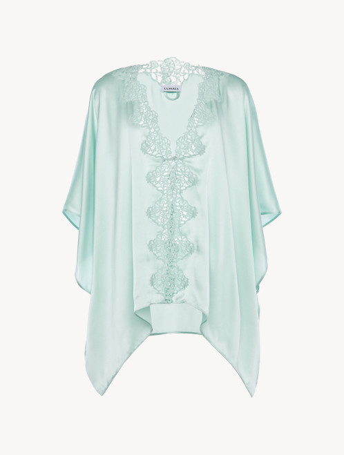 Mint green silk robe with macramé