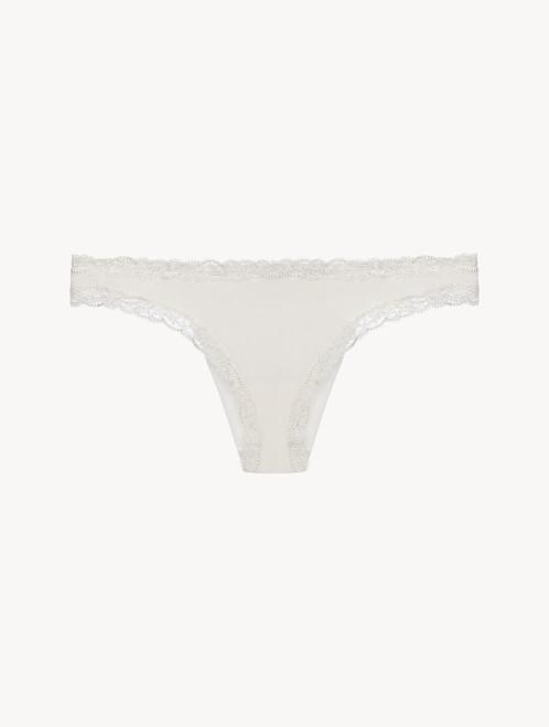 Off-white embroidered tulle Brazilian brief