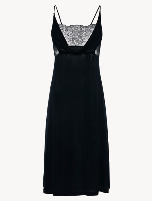 Black jersey modal midi-length nightgown