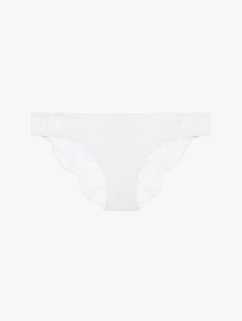 Soft white Leavers lace medium brief