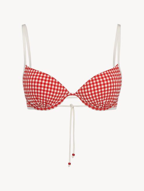 Underwired Bikini top in red gingham seersucker - ONLINE EXCLUSIVE