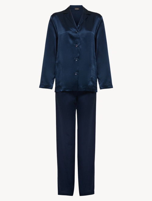 Pyjamas in navy blue silk
