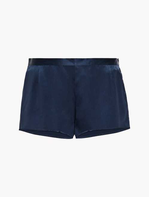 Shorts in navy blue silk