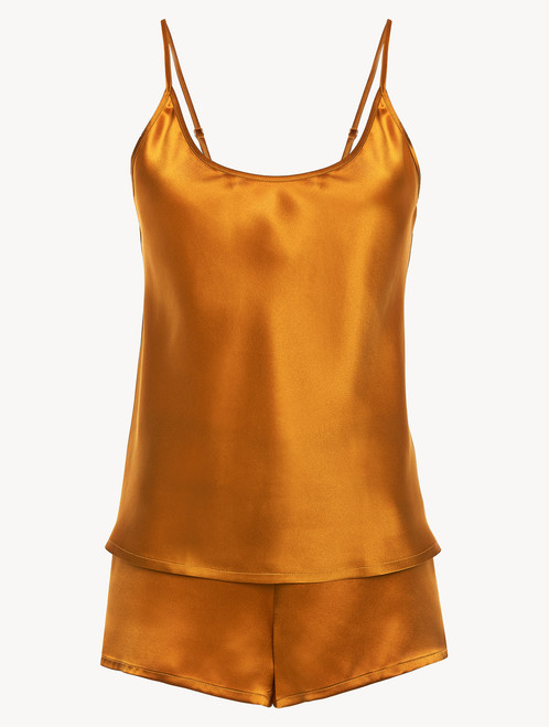 Topaz yellow silk short pyjama set