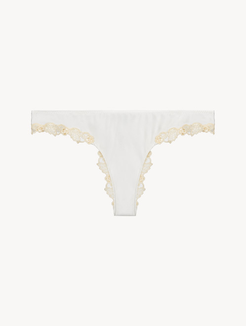 White silk Brazilian Briefs with ivory frastaglio