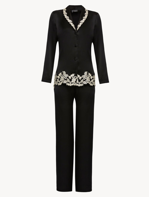 Black silk pyjamas with ivory frastaglio