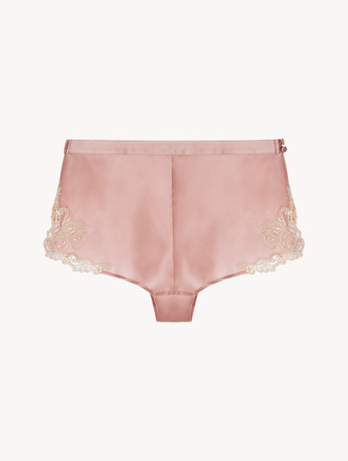 Powder pink silk satin French knickers with pink frastaglio