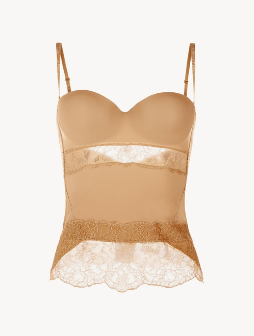 Nude Lycra control bustier with Chantilly lace