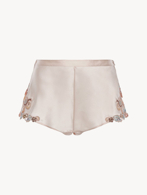 Hipster Brief in blush pink silk with embroidered tulle