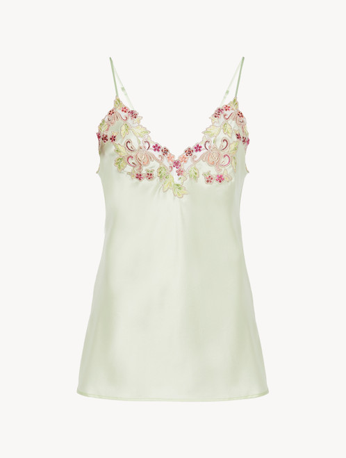 Camisole in pale green silk with embroidered tulle