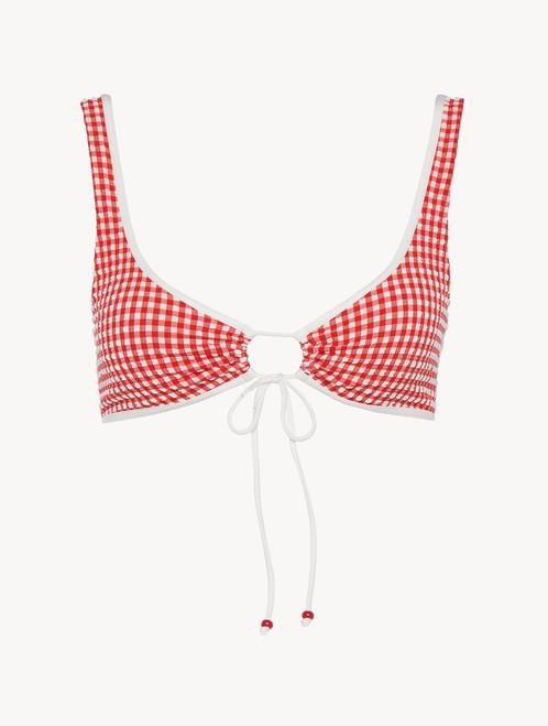 Bikini top in red gingham seersucker - ONLINE EXCLUSIVE