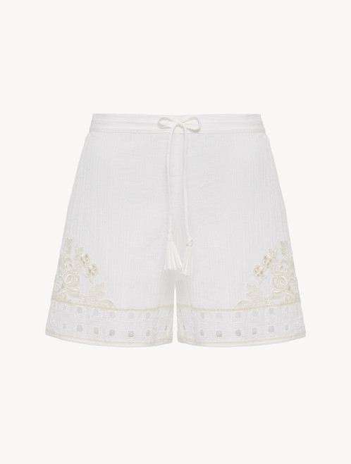 Shorts in off-white cotton