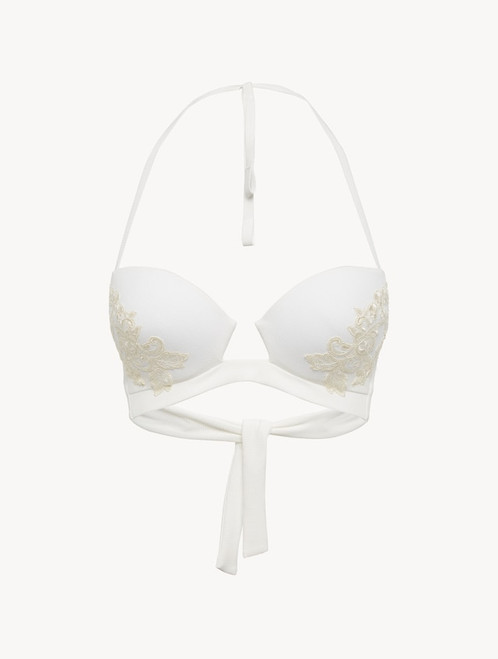 Underwired Bikini Top in off-white with ivory embroidery