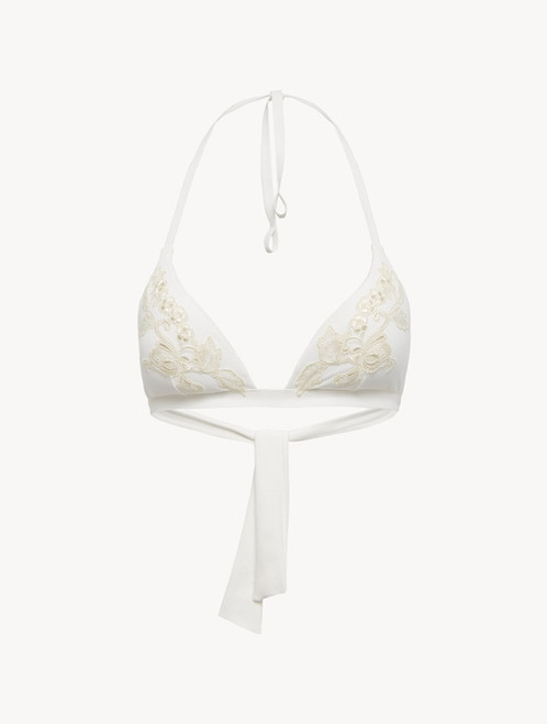 Bikini Top in off-white with ivory embroidery