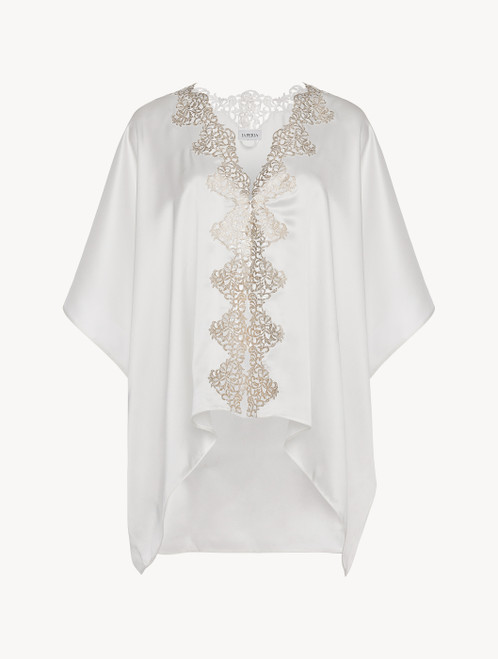 Off-white silk robe with gold macramé