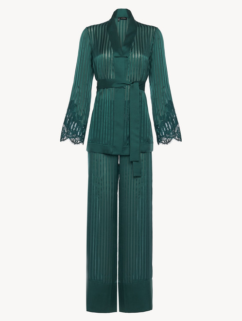 Pyjamas in dark green silk with Leavers lace