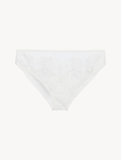 Medium Brief in off-white silk georgette with Leavers lace