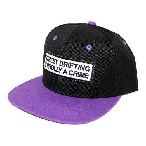 Black Hat with Purple Bill Prolly a Crime Snapback Side by Driff Raff