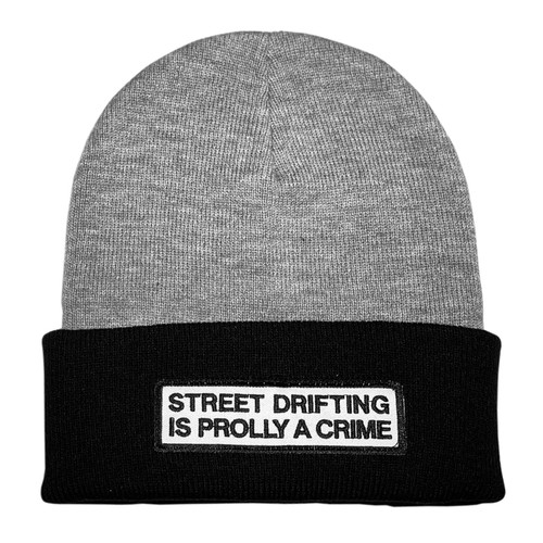 Grey and Black Street Drifting is Prolly a Crime Beanie | By Driff Raff