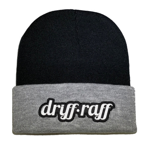 Classic Black and Grey Beanie with Cuff | By Driff Raff