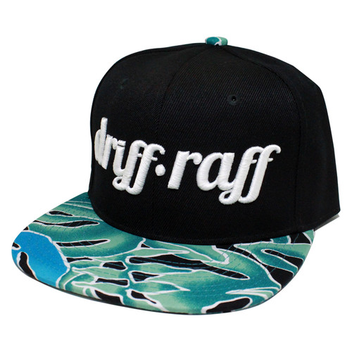 Black and Teal Monstera Snapback | by Driff•Raff