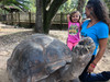 Enjoying the day with family and giant tortoises.