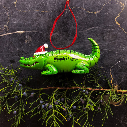 Alligator with Santa's Hat Ornament