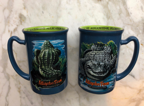 American Alligator, embossed on a blue background with green interior, mug.