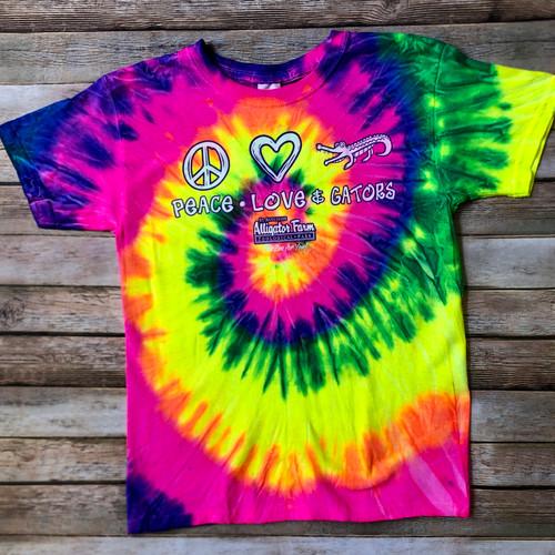 Peace, Love, & Gators Tye-Dye Kids Shirt
