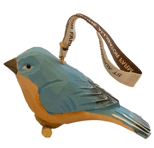 Blue Bird Wood Ornament
