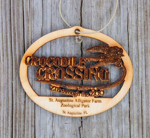 Crocodile Crossing Wood Ornament