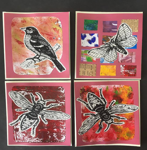 Bugs and Birds grace these spring cards.