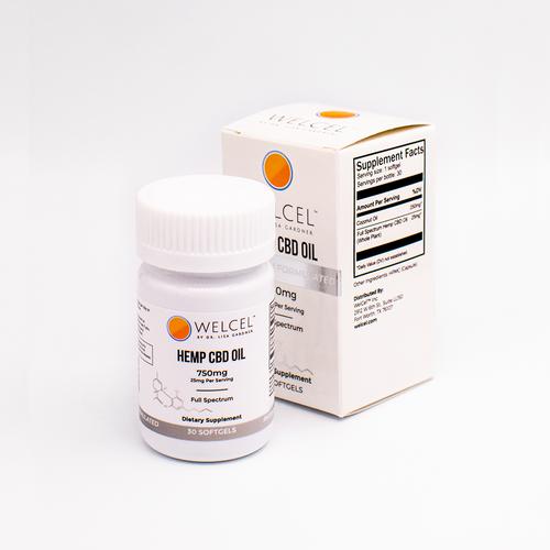 WelCel CBD Oil Softgels - 750mg - Full Spectrum.