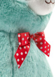 Teal Alpaca closeup shot of ribbon
