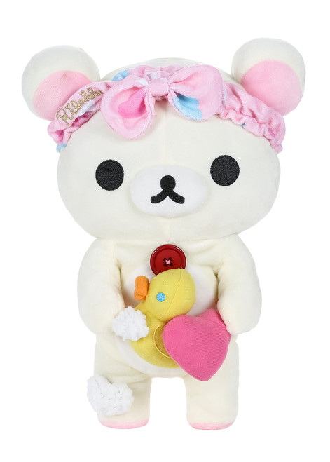 Korilakkuma Bath Time Pink Heart Rubber Ducky Plush Stuffed Animal