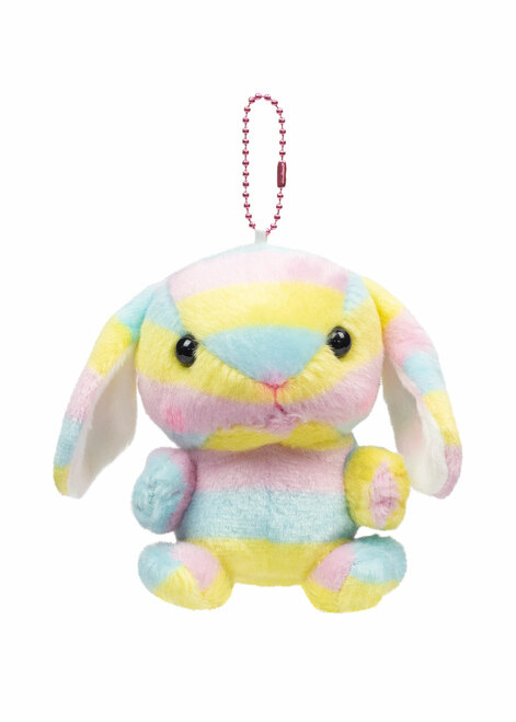 Rainbow bunny keychain front shot