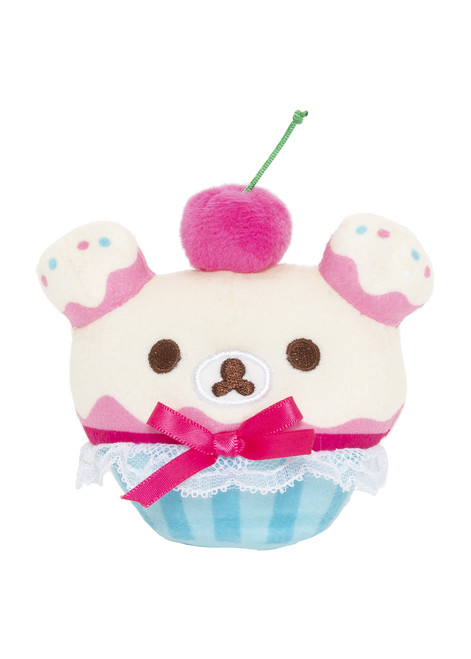 Korilakkuma Cherry Cupcake Plush Stuffed Animal Keychain