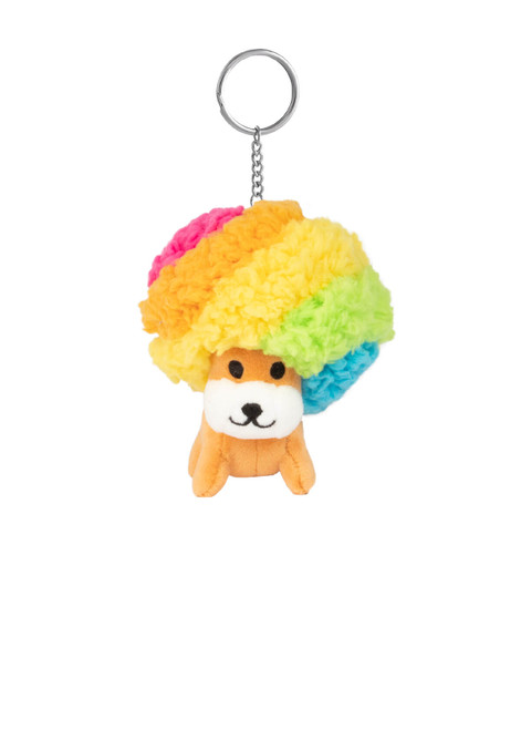 Afro Ken Rainbow Hair Plush 4 inch Keychain