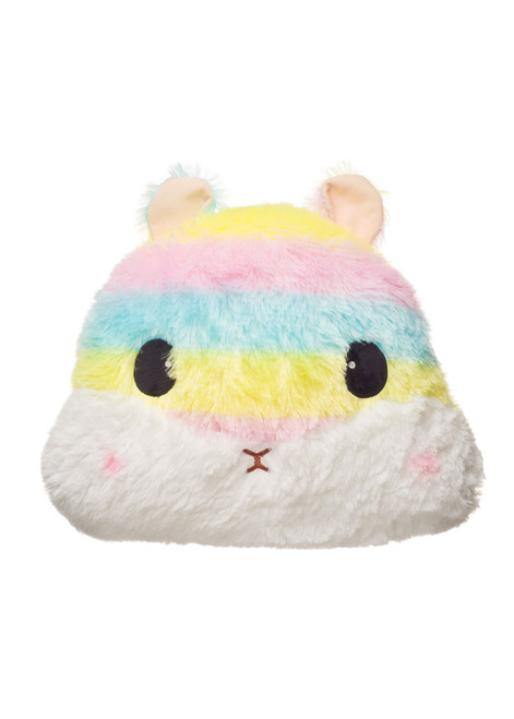Amuse Rainbow Hamster Head Plush Pillow Front Shot