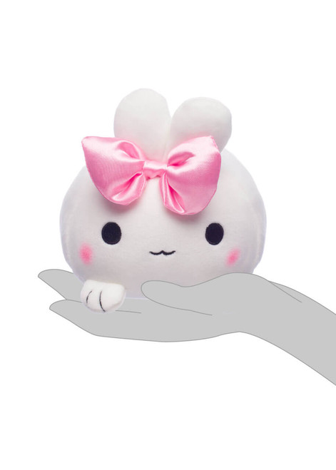 Honeymaru White Mochi Bunny Plush with Pink Bow