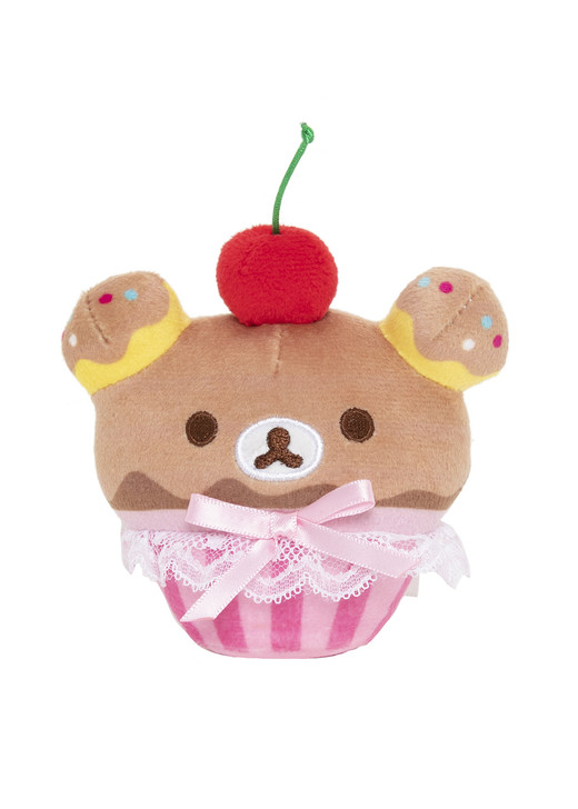 Rilakkuma Cherry Cupcake Plushy Stuffed Animal Toy Keychain