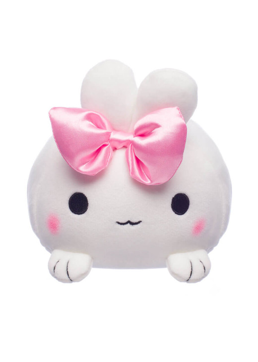 Honeymaru White Mochi Bunny Plush with Pink Bow